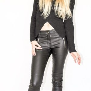 Pants - Leather look wax coated pant